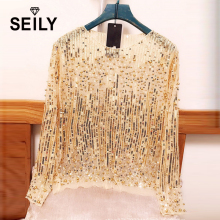 Seily Spring 2018 Sexy Perspective Sheer Sequin Tops For Women Party Pearl Beaded Mesh Lace Long Sleeve Blouse Blusas De Mujer недорого