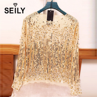 Seily Spring 2018 Sexy Perspective Sheer Sequin Tops For Women Party Pearl Beaded Mesh Lace Long Sleeve Blouse Blusas De Mujer