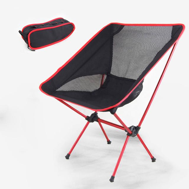 Vermelho Assento tubo Do Assento Da Liga de Alumínio Cadeira Dobrável de Acampamento Ao Ar Livre Portátil Cadeira de Pesca Cadeiras de Praia Caminhadas Bolsa de Piquenique H195-1