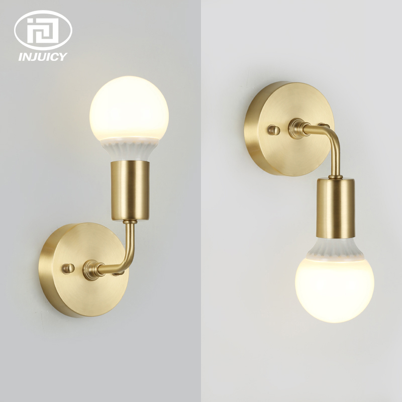 Nordic Brass LED Wall Light Modern Metal Wall Lamp Living Room Bathroom Corridor Aisle Bedside Bar Wall Sconce in Bronze Color