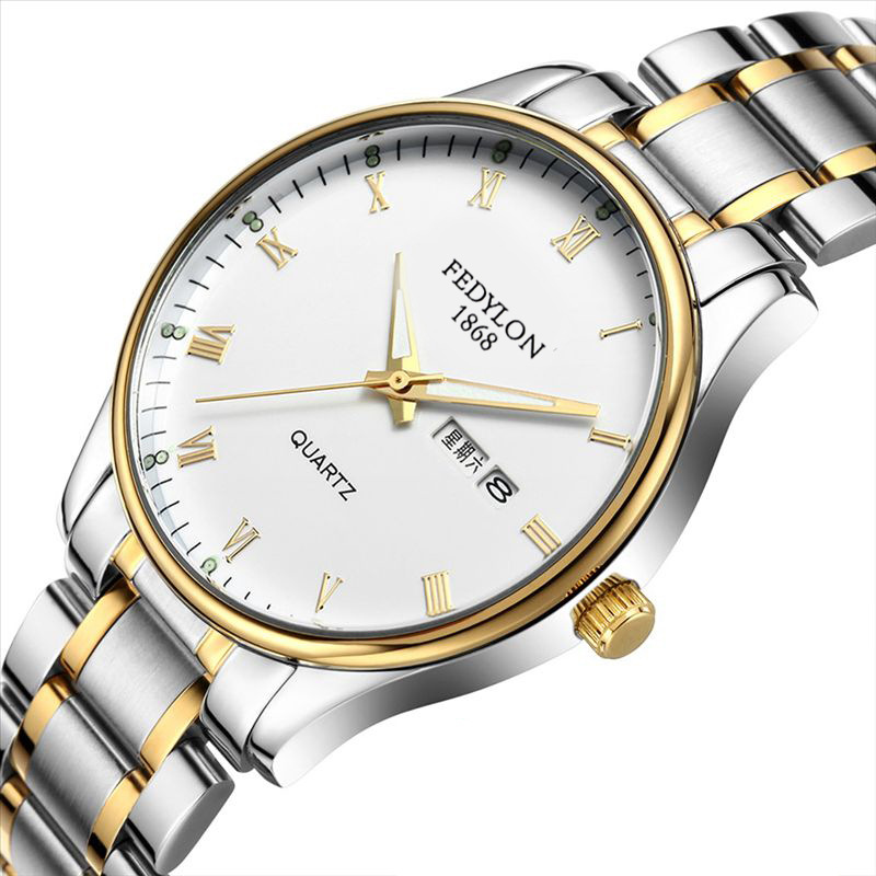 Fedylon Luxury Brand Mens Watches Waterproof Date Stainless Steel Luminous Lover Quartz Wristwatch Male Clock Montre Homme longbo men and women stainless steel watches luxury brand quartz wrist watches date business lover couple 30m waterproof watches