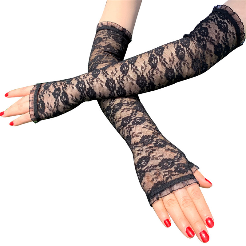 Summer Long Elegant Lace Gloves For Women Black / White / Red / Skin Colors Sexy Fingerless Night Prom Party Gloves Gothic 45CM