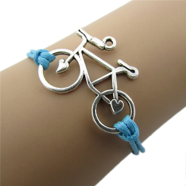 Great Leather Rope Bicycle Charm Bracelets 1 Pc Personalized Cuff Bangle Handmade Chain Bike Wrap