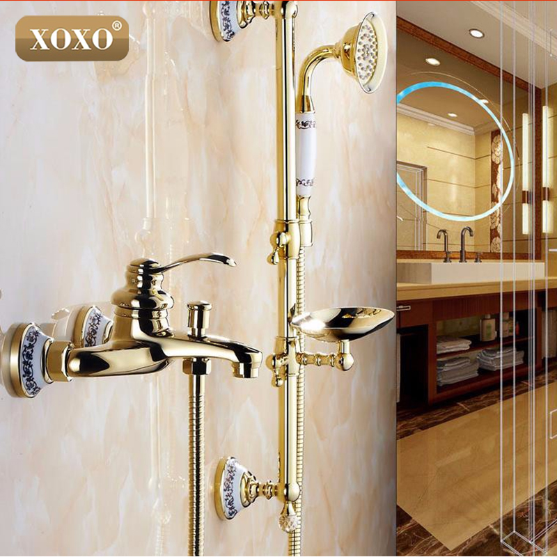 Wall Mounted Bathroom golden Brass Handheld Bath Shower Faucet with Slide Bar + Handheld Shower Head +Soap Dish 50047GT-1 jade luxury bathroom soap rack rose gold copper soap net european style bathroom glass marble soap dish