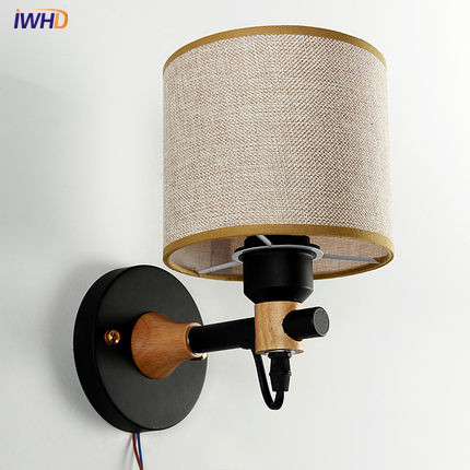 IWHD Simple Modern Wall Sconce Cloth Lamp Shade LED Wall Light Fixtures Aisle Home Indoor Lighting Bedside Wall Lamp nordic simple modern wall sconce creative cloth lamp shade led wall light fixtures for bedside wall lamp home indoor lighting