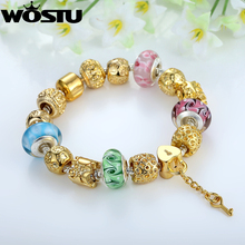 WOSTU Gold Plated Charm Bracelet & Bangle With High Quality Multicolor Murano Glass Beads For Women Jewelry SDP1810(China (Mainland))