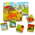 2017 New Hot Wooden 3D Puzzle 6 Sides 16Pieces Kids Toys Baby Children Intelligence Educational Early Childhood As Gift