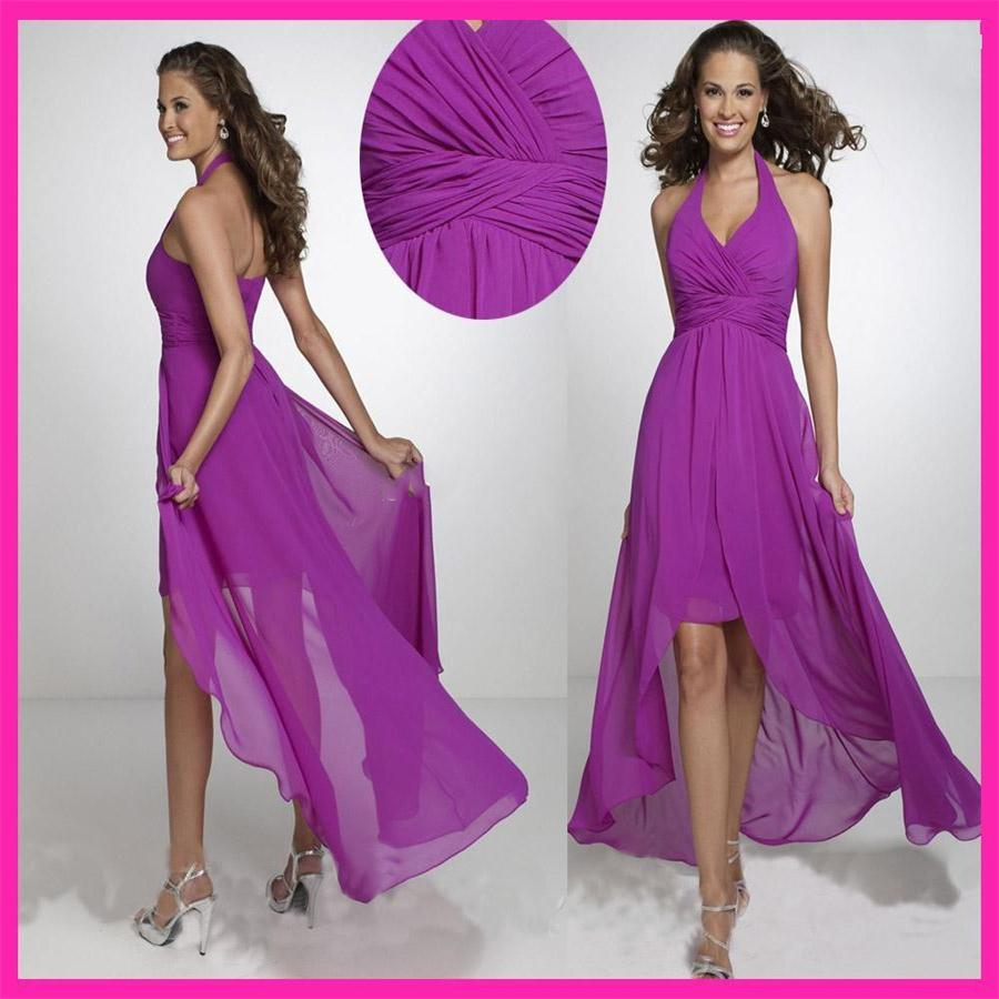 Popular halter bridesmaid dresses under 100 buy cheap halter halter purple chiffon high low bridesmaid dresses sleeveless zipper chiffon party gowns with ruffle under 100 ombrellifo Gallery