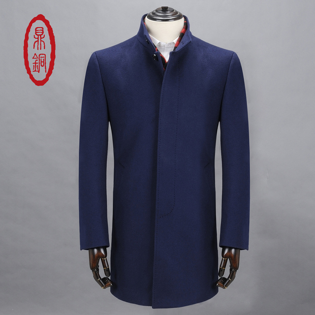 DINGTONG Men's Top Quality Wool Trench Mandarin Collar Single Breasted Long Windproof Overcoat Winter Warm Casual Slim Blue Coat