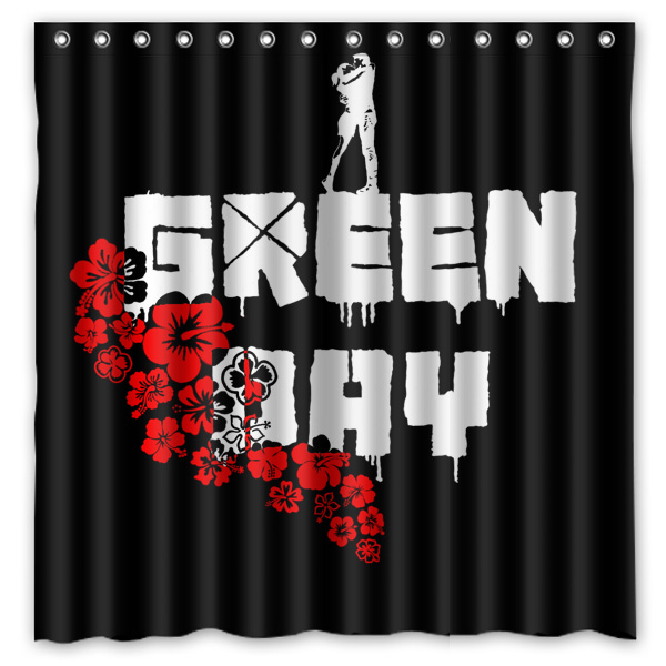 Bathroom Products Polyester Fabric Green Day Printed Shower Curtains ...