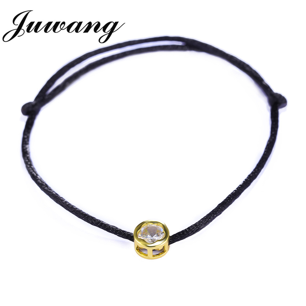 JUWANG Lucky Red Rope Bracelets Bangles for Women Girl Round Cubic Zircon Charm Wedding Jewelry Friendship Gift Wholesale in Charm Bracelets from Jewelry Accessories