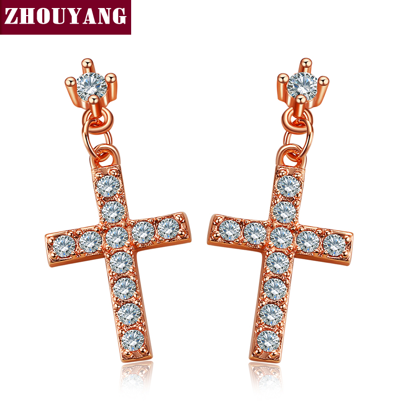 Top Quality Elegant Cross Crystal Rose Gold Color Earring Fashion