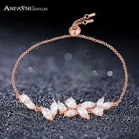 ANFASNI High Quality 925 Sterling Silver Bracelets And Vintage AAA Cubic Zirconia Rose Gold Color Leaf