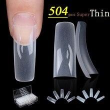 504 sztuk/przypadku 0.1mm Super cienkie jasne francuski tipsy akrylowe porady 10 rozmiary pół okładka fałszywe paznokci Art