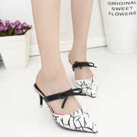 2017 Sexy Piont Toe Women Sandals High Heels Bow Tie Two Ways Woman Pumps Ladies Summer