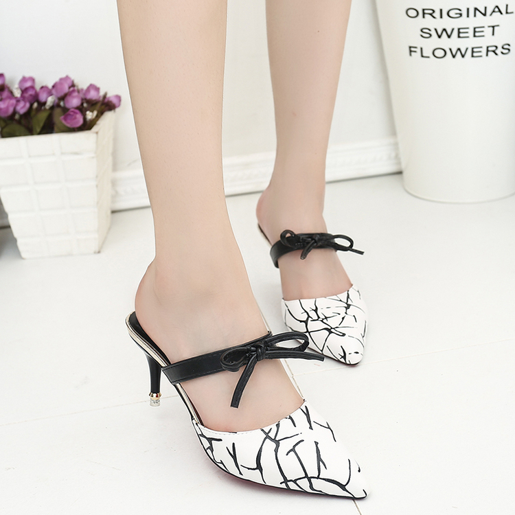 2018 Sexy piont toe women Sandals High Heels bow-tie two ways woman pumps Ladies Summer Slippers Shoes ALF254