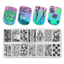 BeautyBigBang Stamping Plates Stencil For Nail Art Flower Leaf Image Autumn Theme 6*12cm Stamp Templates BBB XL-021