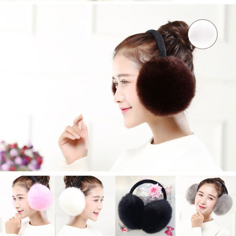 Women Girls Winter Sweet Solid Candy Color Artificial Rabbit Fur Fluffy Big Pompom Ball Earflap Stretchy Ear Warmer Headband