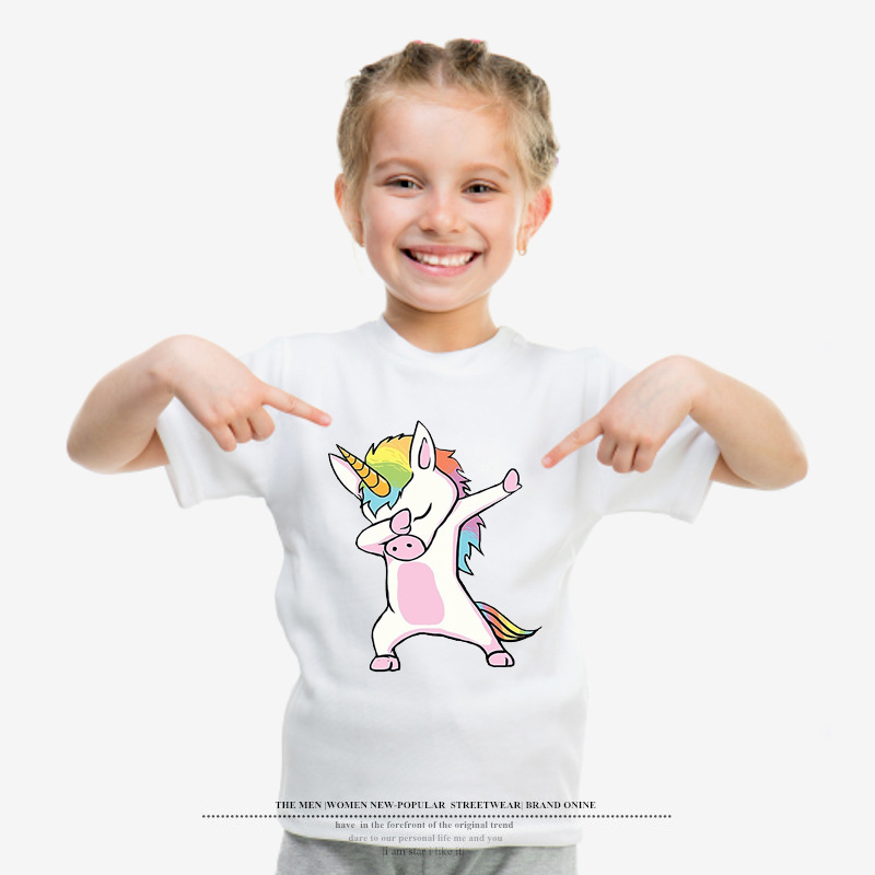 2018 Girls Funny T shirts Baby Cartoon Unicorn Rainbow Printed Cool Boys T shirt Summer Short Sleeve Kids Clothing Toddler Tops 1