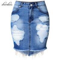 2017 Summer Women Sexy High Waist Irregular Ripped Hole Split Jeans Skirt Ladies Mini Warp Hip