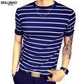 2017 Nueva Llegada de la Marca de Ropa de Verano de Los Hombres T-Shirt de Moda 4 Colores rayas de Manga Corta Camiseta de Los Hombres Casual Slim Fit Camisa de Los Hombres