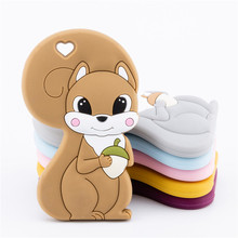 1PC Silicone Teether Baby Squirrel Food Grade Rodent Pendant For Pacifier Goods Teethers Teeth BPA Free