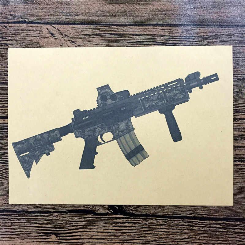 """RMG-054 خمر ريترو كرافت ورقة """"التمويه نمط بندقية"""" ملصقات جدار ديكور المنزل غرفة المعيشة ملصق ملصق للأطفال 42x30 سم"""