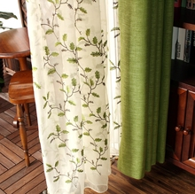 2017 New Rural Embroidery Linen font b Curtain b font Tulle Living Room Bedroom Green Leaf