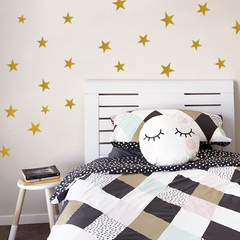 US $0.75 5% OFF|Wall Sticker For Kids Room Gold Stars Baby Nursery Room  Kids Wall Stickers Bedroom Children Wall Decals Home Art Wallpaper-in Wall  ...
