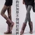 Женские зимние леггинсы сгущает бархат леопарда печати леггинсы женщины теплые брюки моды брюки