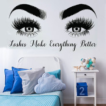 Eyes Lashes Quote Vinyl Art Wall Sticker  Beatuy Salon Home Decoration Bedroom Removeable Decal Living Room Decor Poster ZX597 art wall sticker lashes salon eyelashes decor vinyl removeable beauty salon decoration make up extensions eyebrows decal ly265