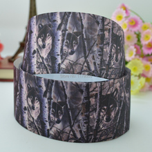 "DUWES 1.5"" 38mm Camo Wolf Printed grosgrain ribbon hairbow"