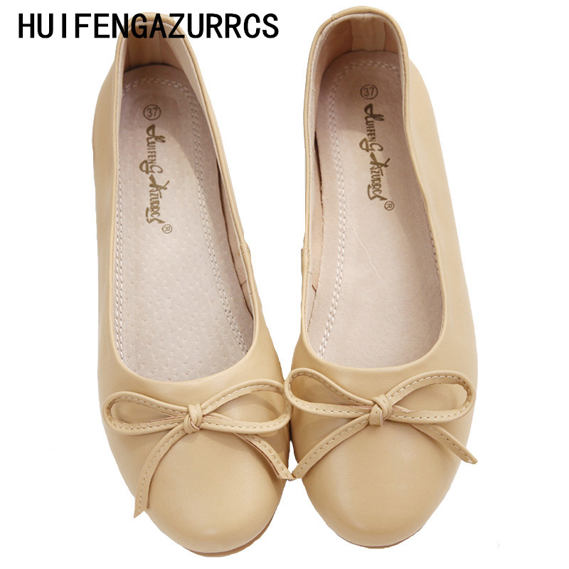 HUIFENGAZURRCS Sheepskin soft sole light shoes women s Japanese bowknot round head baby shoes comfortable ballet