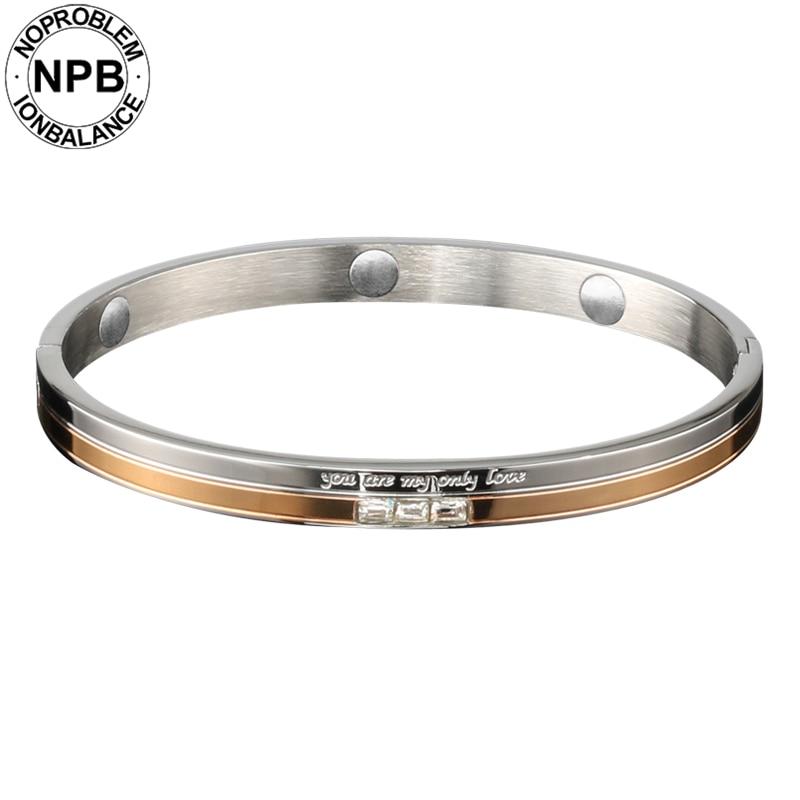 Noproblem 083 beauty luxury health power charm rose gold engraved tourmaline germanium bangle bracelet for lady girlfriend