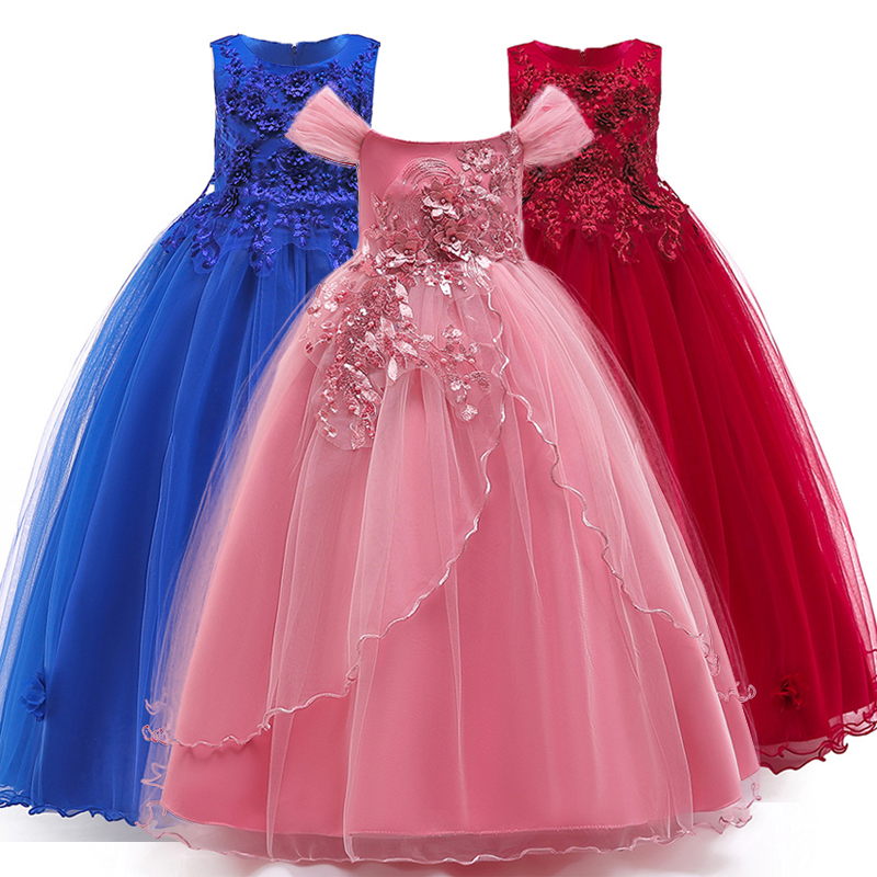 4-14 Years Kids Dress Flower Long Lace Elegant Teenagers Prom Gowns Dresses Girl Party Kid Evening Bridesmaid Princess LP-213 image