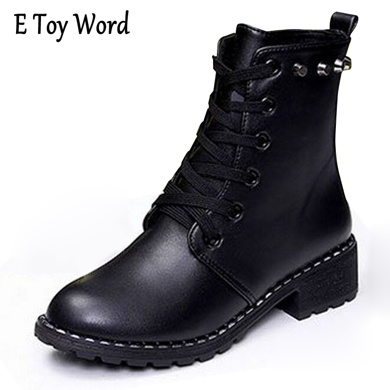 E TOY WORD PU Leather Rivet Ankle Boots Women Autumn Casual Lace-Up Walking Waterproof Martin Boots 2017 Winter Boots Women's e toy word bullock ankle boots for women autumn increase lace up martin boots british retro boots winter high help botas mujer
