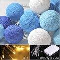 LED batería luces de cadena bola de algodón gairy tono azul oscuro, casa de la boda patio decoración