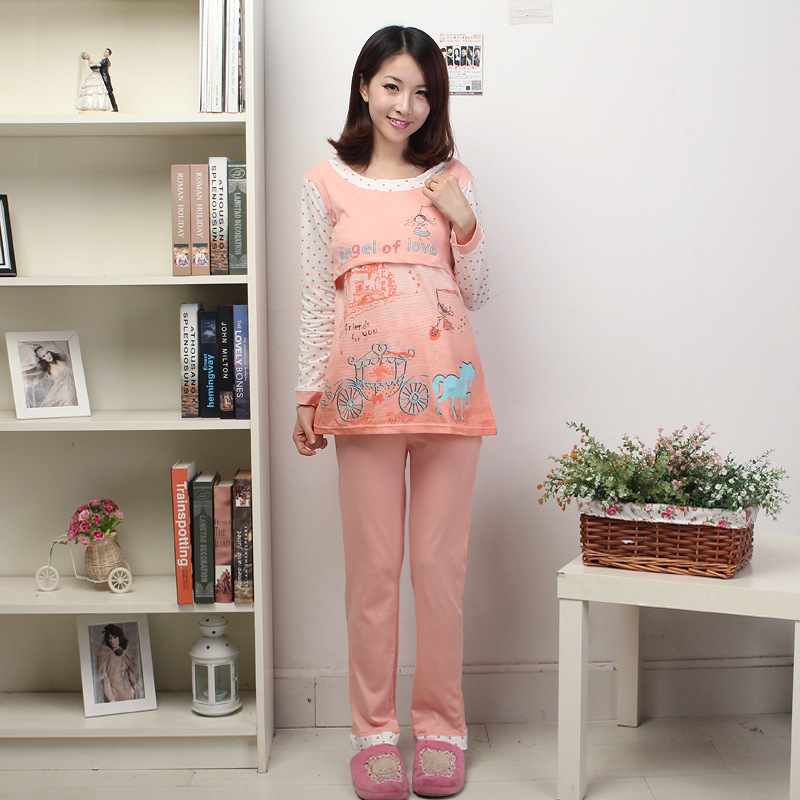2016 Cotton Round Neck Broadcloth Full Solid Maternity Maternal Postpartum Confinement Suit Pajamas And Women Factory Direct
