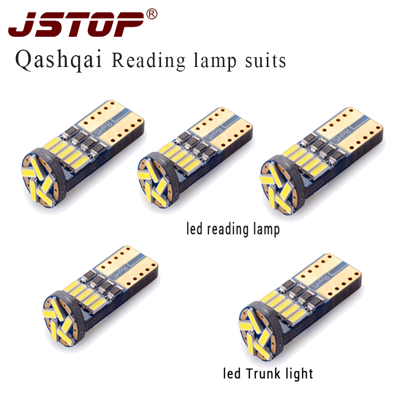 JSTOP 5piece set led Car reading light T10 w5w led automobile Trunk bulbs Interior Light 12V