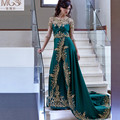 2016 Hot Women Luxury A-Line Scoop Green Formal Evening Dresses  Appliqued Embroidery Gold Beaded Arabia Muslim Dabai Prom Gown
