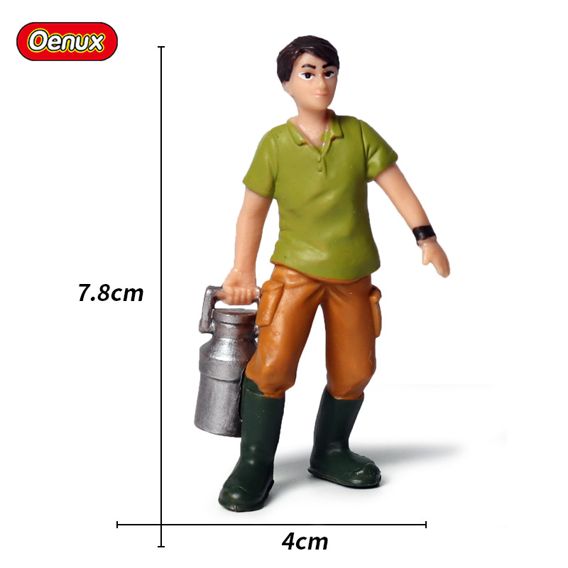 Oenux Farmer Model Simulation Poultry Animals Boy Feeding Cow Action Figures Figurine Cute Model Collection Toys For Kids Gift