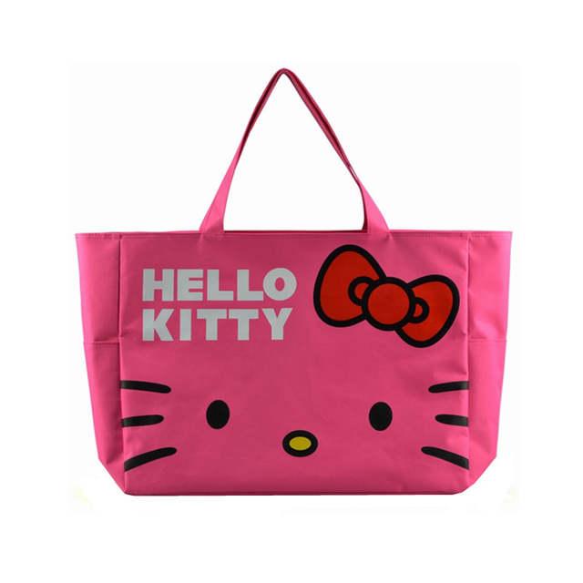 c1a25bbacb75 Foldable Cute Handbags Girl Women Travel Organizer Hello Kitty Shoulder Eco  Shopper Beach Bags Accessories supplies