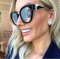SOLO TU Fashion Rhinestone Handmade High Quality Sun Glasses Brand Designer Luxury Women Ladies Street Snap