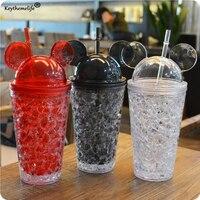 Keythemelife Karikatür 450 ML Süt Smoothie Buzlu Kahve Suyu Su Plastik Şişe İçecek Saman Drinkware Ile 4D Beher Kapaklı