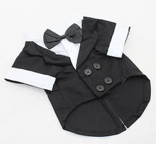 2015 New Pet Clothes Puppy Jumpsuit Shirt Dog Wedding Tuxedo Suit with Bow Tie Pet Clothing Coat Free Shipping