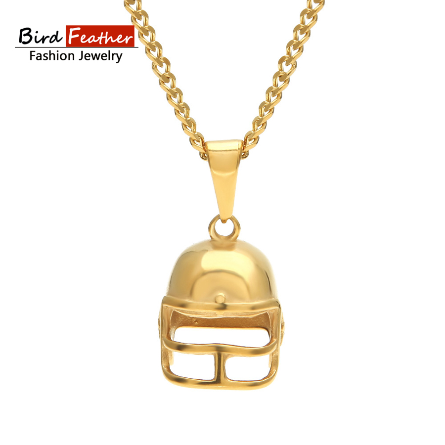 Golden Color Stainless Steel Necklace for men women Football helmet Pendant Chain Necklaces & Pendants Hip Hop Fashion Jewelry