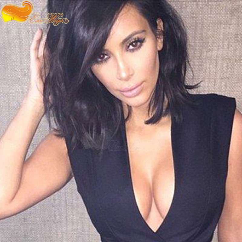 Kim Kardashian Short Bob Haircut Virgin Peruvian Human Hair Wig