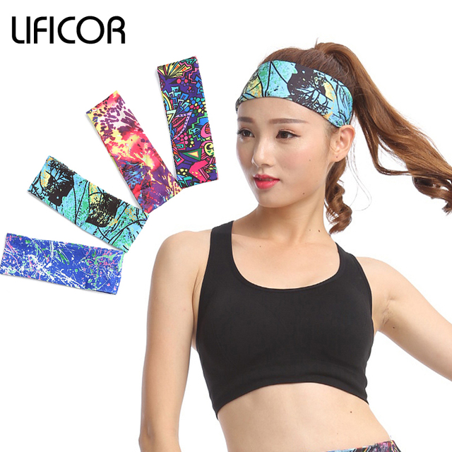 Sports Elastic Headbands Yoga Fitness Women Stretch Head Wrap Head Band  Printing Girls Running Hair Accessories Bandana Headwear ba1db971e3