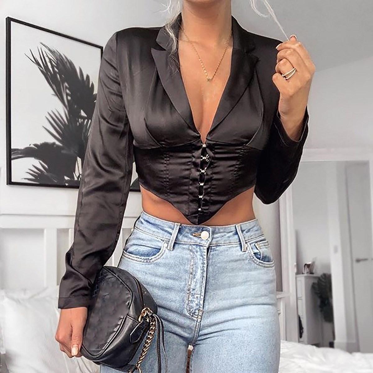 2019 Women V Neck Deep Office Blazer Jacket Button Summer Long Sleeve White Party Blazer Top Single Breasted Short Blazer
