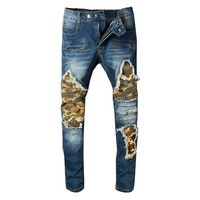 New Arrive 2018 Men S Distressed Pants Ribbed Camouflage Patches Military Slim Blue Jeans Washed Trousers